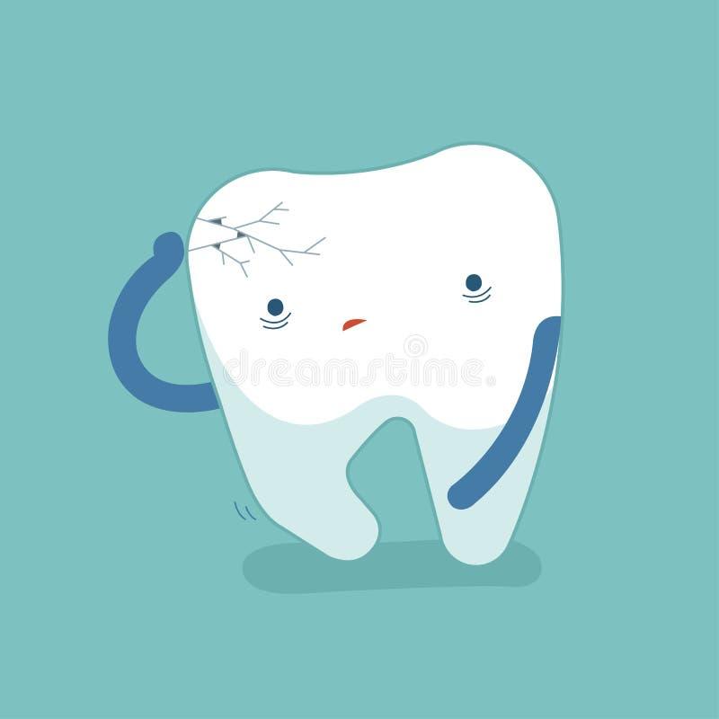 Sprickatanden, smärtar tanden, muntlig hygien, modern lägenhet stock illustrationer