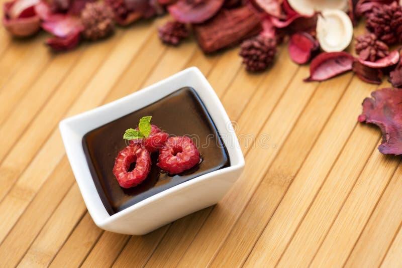 Spricker mörk pudding för choklad med hallon och mintkaramellen ut royaltyfri fotografi