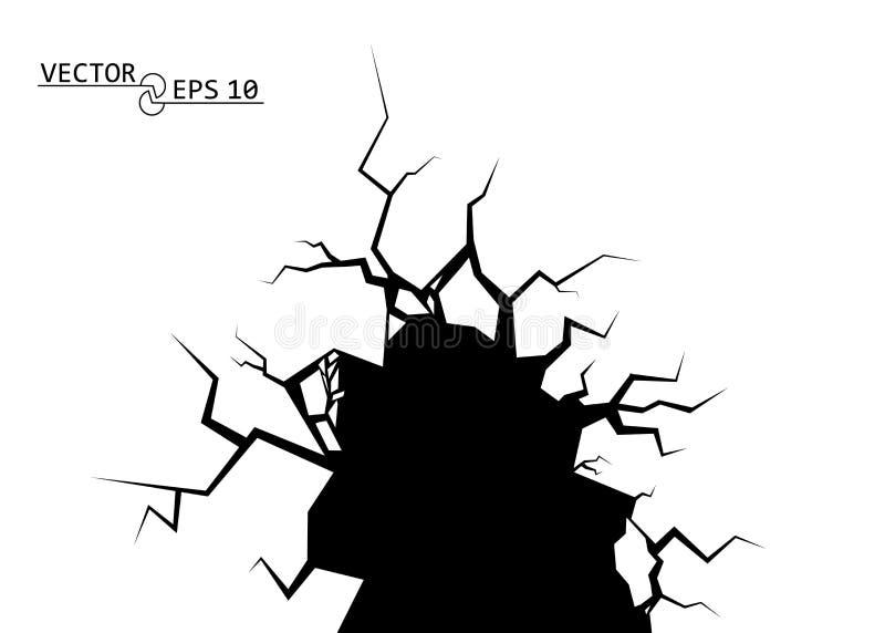 sprickor Förstörelsen, avgrunden Dekorativ beståndsdel för vektor på isolerad bakgrund royaltyfri illustrationer