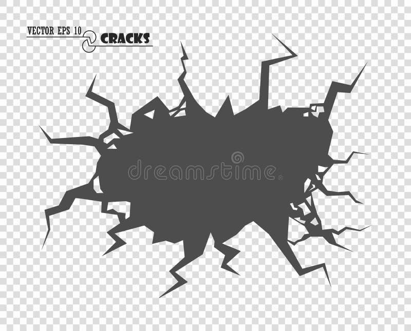 sprickor Förstörelsen, avgrunden Precis ändrande färg Dekorativ beståndsdel för vektor på isolerad genomskinlig bakgrund royaltyfri illustrationer