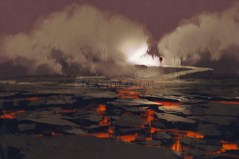 Sprickor i jordningen med magma royaltyfri illustrationer