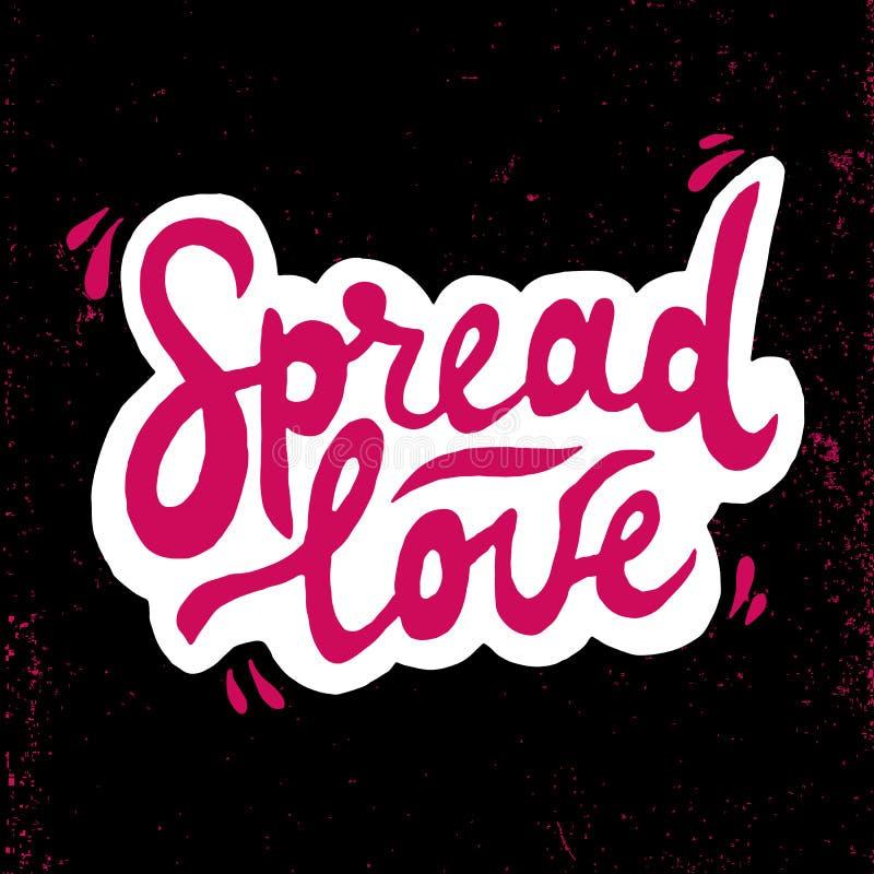 Spridd förälskelseromantikerinskrift Hälsningkort med kalligrafi Hand dragen bokstäver Typografi för inbjudan, baner, affisch royaltyfri illustrationer