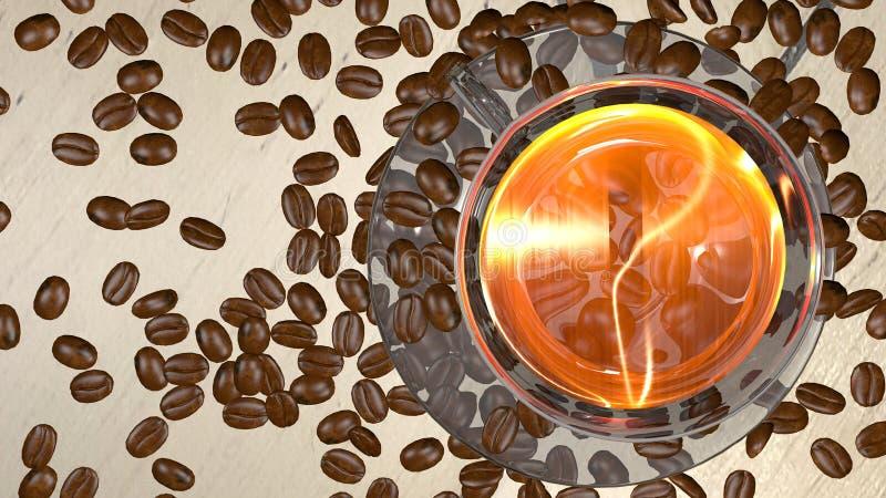 Spridd grillad bakgrund för kaffebönor med kopieringsutrymme för text royaltyfri illustrationer