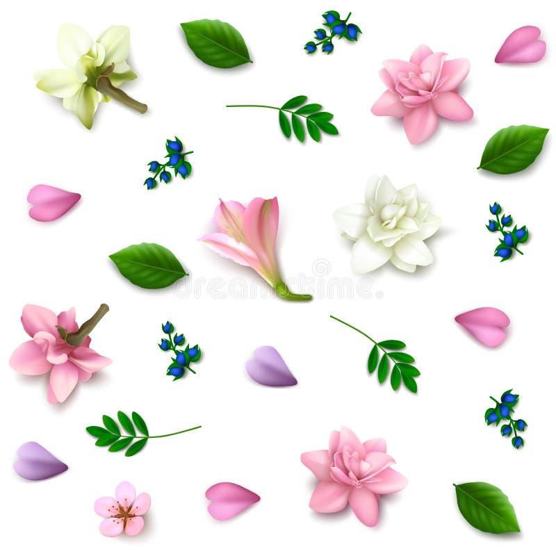 Spridda realistiska blommor på vit bakgrund stock illustrationer