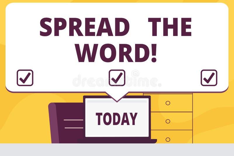 Spridning för ordhandstiltext ordet Affärsidéen för Communicate som ett meddelande till mycket visning gör alla, vet royaltyfri illustrationer