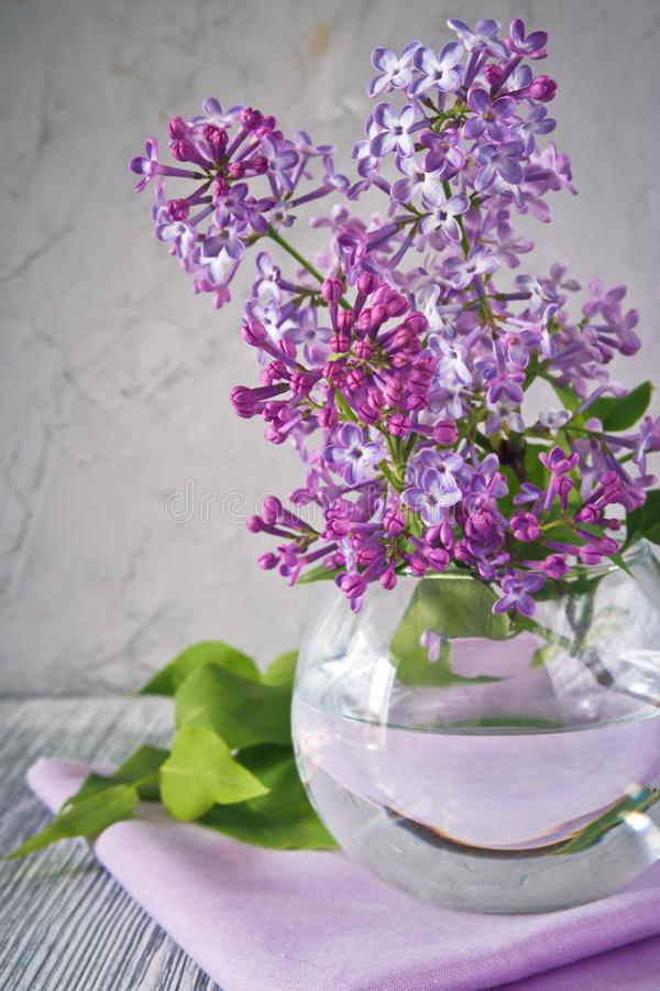 Sprig of lilac still life. Sprig of lilac in a glass round vase on a wooden table still life stock photography