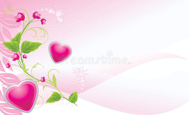 Download Sprig With Pink Flowers And Hearts Stock Vector - Image: 20845641