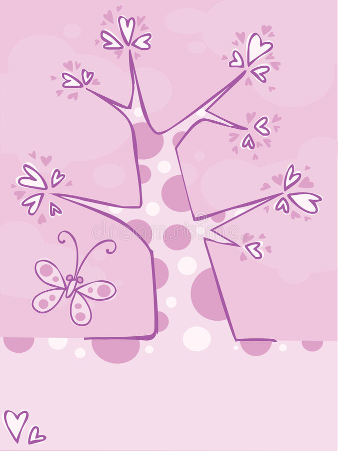 Spring. Pink tree with butterfly and hearts stock illustration