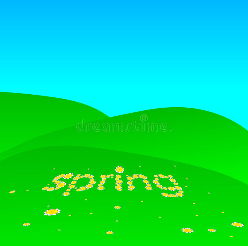 Spring. Landscape with daisies on meadow royalty free illustration