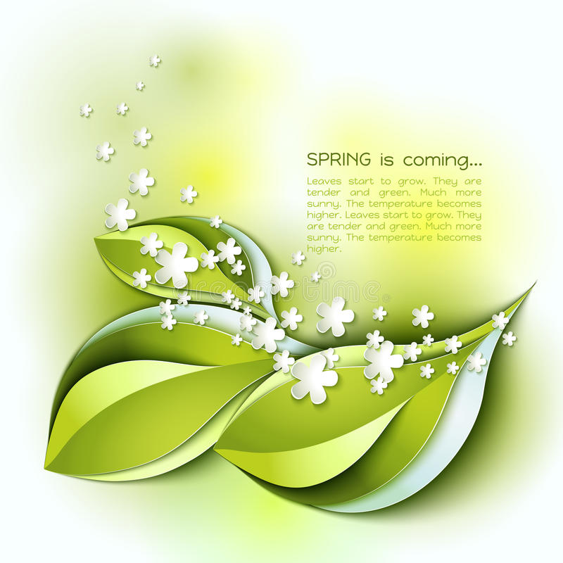Spring abstract vector background. Green leaves royalty free illustration