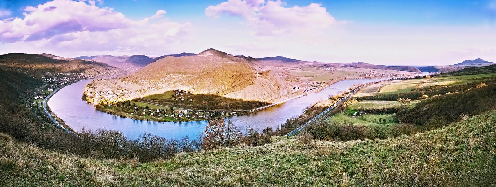 Spring afternoon panorama photo of Elbe River canyon named Porta Bohemica in Ceske stredohori region in czech landscape from. Doerellova vyhlidka view stock photography