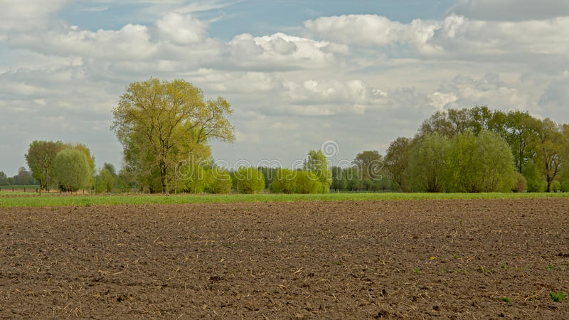 Spring agricultural landscape in the Flemish countryside stock photography