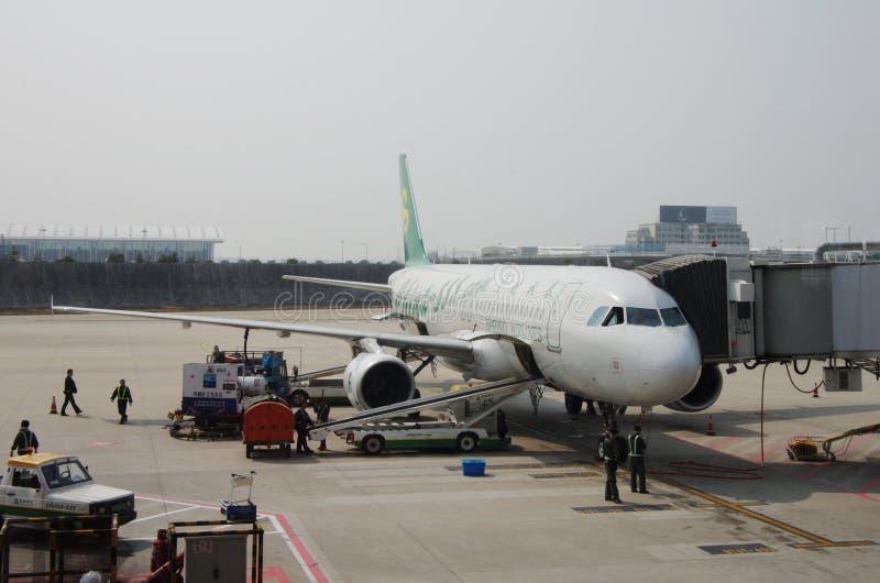 Spring Airlines planieren lizenzfreie stockfotografie