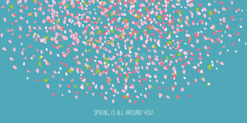 'Spring is all around you!' card. Cherry petals. royalty free illustration