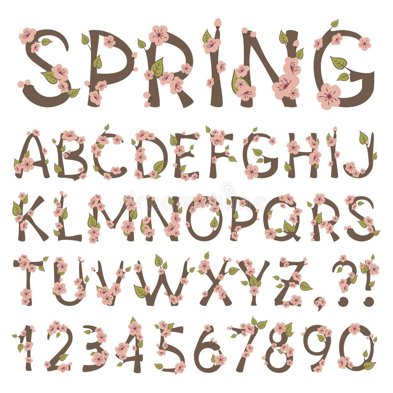 Spring Alphabet royalty free illustration