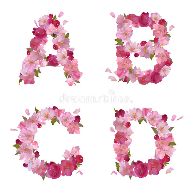Spring alphabet with cherry flowers ABCD royalty free illustration