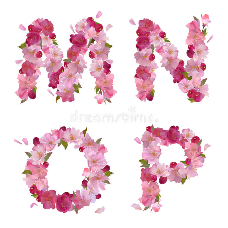 Spring alphabet with cherry flowers MNOP vector illustration