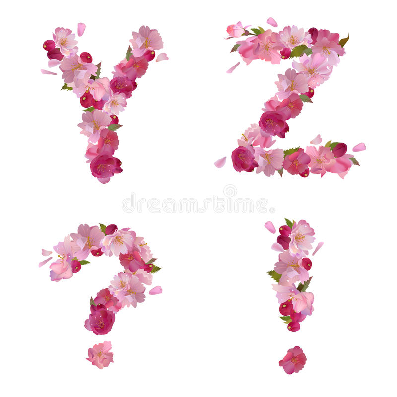 Spring alphabet with cherry flowers YZ and signs vector illustration
