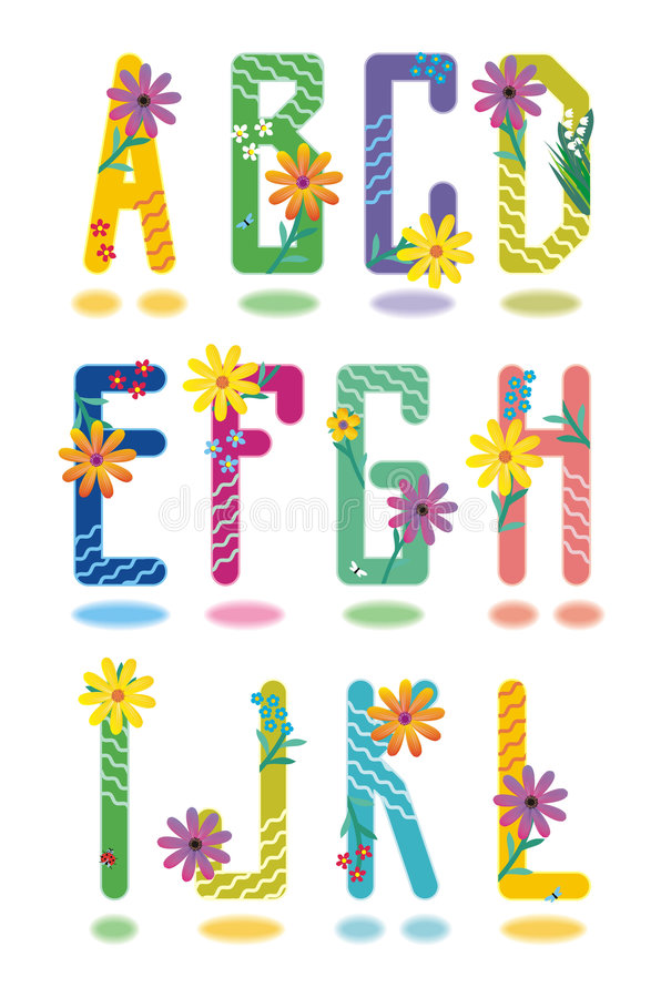 Spring alphabet letters A - L royalty free illustration