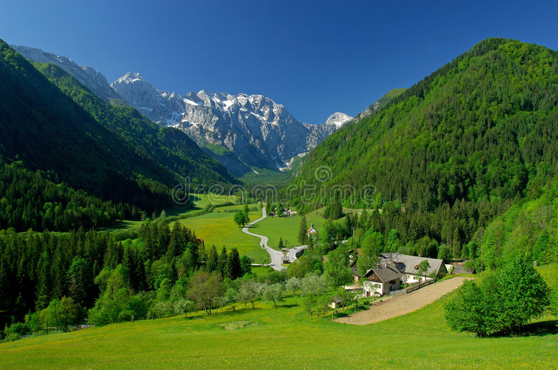 Spring in alpine valley royalty free stock photos
