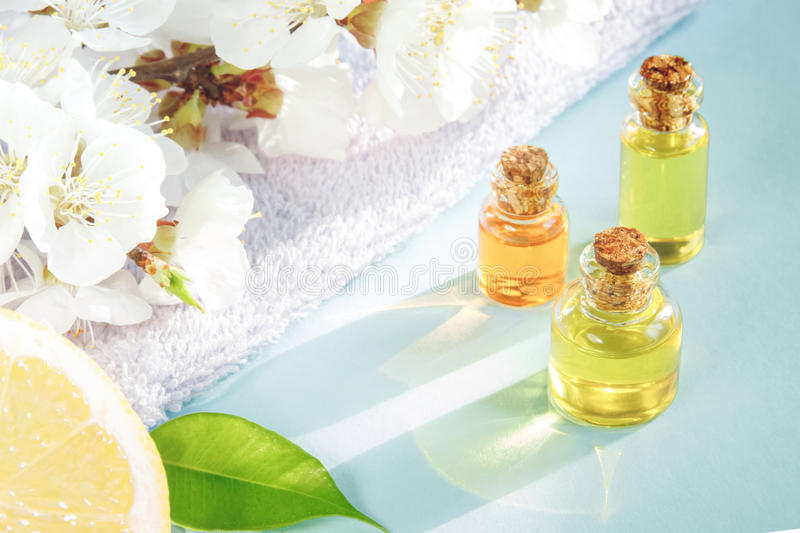 Spring aromatherapy. With citrus, essential oils and flowers stock image