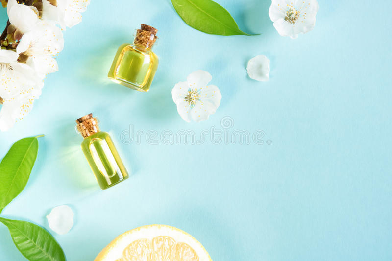 Spring aromatherapy. With citrus, essential oils and flowers royalty free stock images