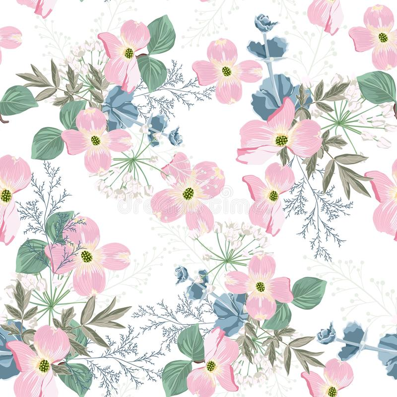 Spring autumn pink flowers with white herbs seamless pattern. Watercolor style floral background. For invitation, fabric, wallpaper, print. Botanical texture royalty free illustration
