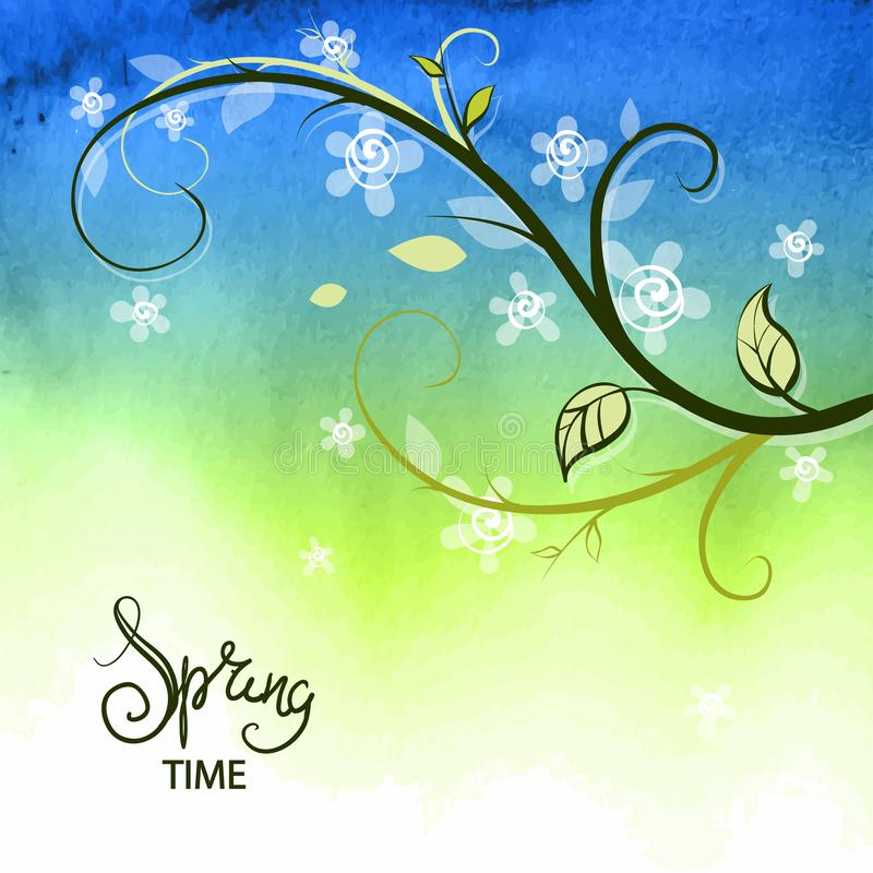 Spring background. Green nature summer plant stock illustration