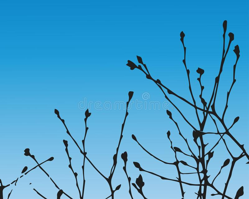Spring background with branches stock illustration