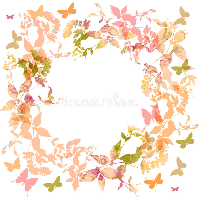 Spring background, Colorful butterflies set wreath. With pink leaves, watercolor. Round banner for text. spring summer card design on white background. Vector vector illustration