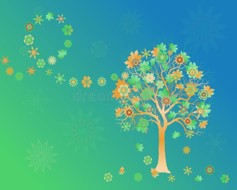 Spring background with colorful tree with abstract flowers and leaves on wind stock illustration