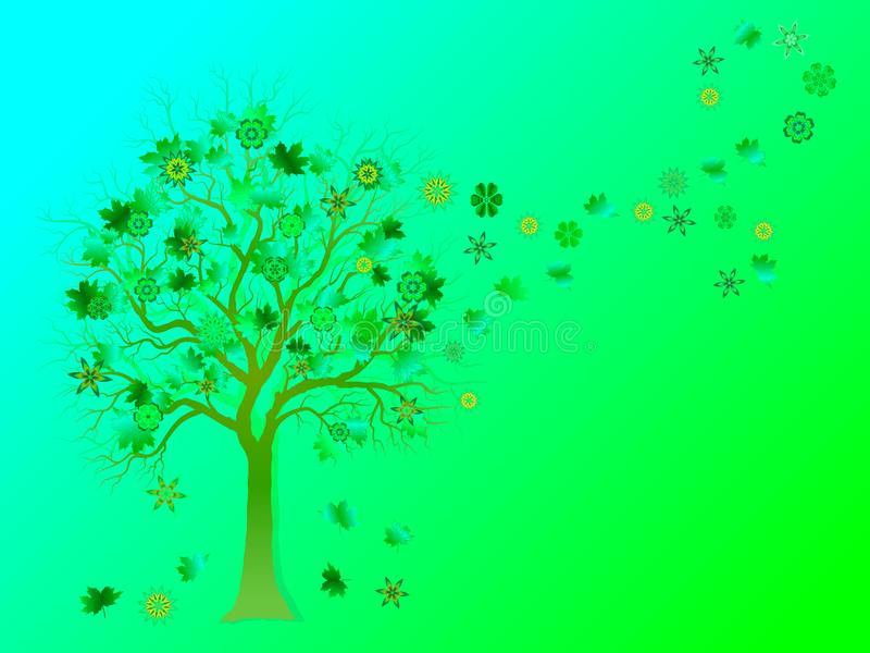 Spring background with colorful tree and falling leaves on green background. stock illustration