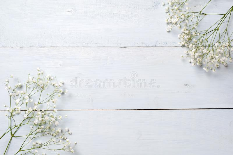 Spring background, flowers frame on blue wooden table. Banner mockup for Womans or Mothers Day, Easter, spring holidays. Flat lay, royalty free stock image
