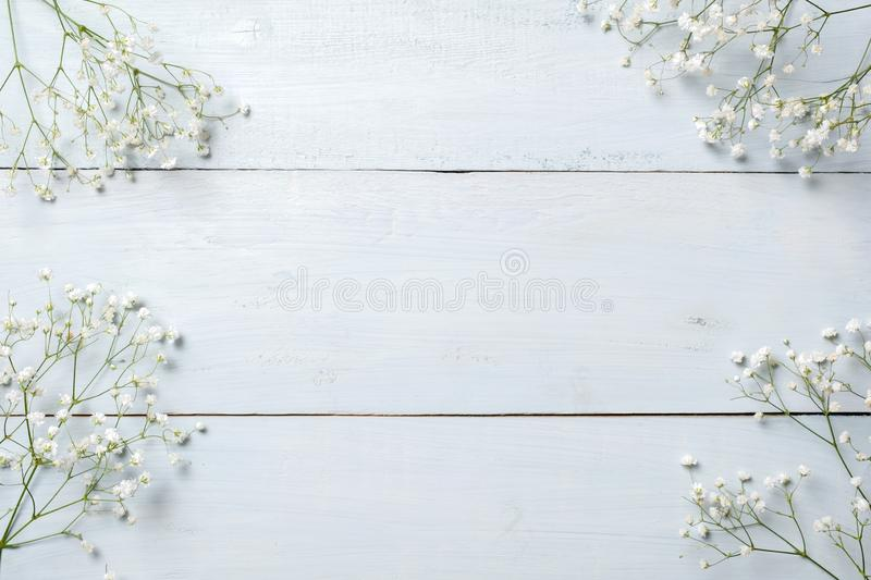 Spring background, flowers frame on blue wooden table. Banner mockup for Womans or Mothers Day, Easter, spring holidays. Flat lay, stock photo