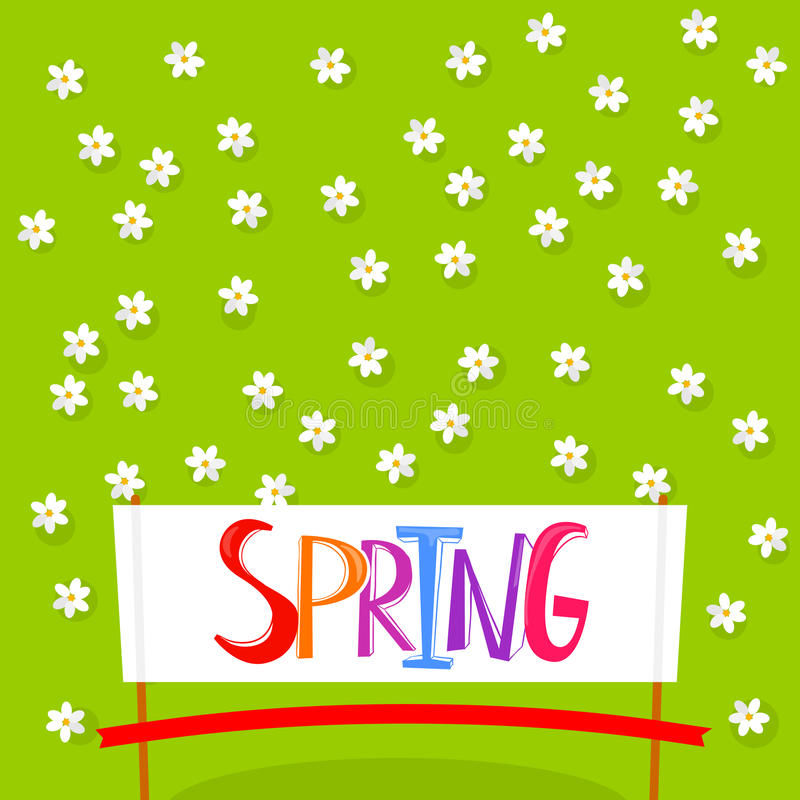 Spring background with flowers. Spring Time lettering on white banner background with flowers. Spring floral background. Spring flowers background for banner royalty free illustration