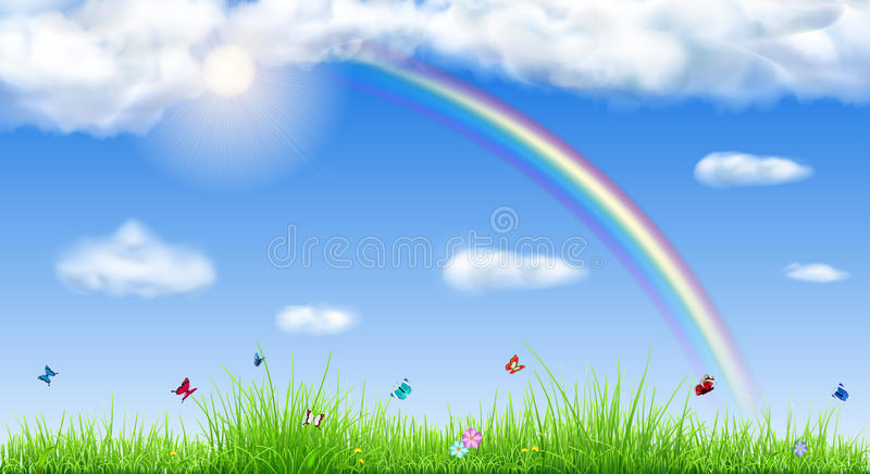 Spring background with green grass royalty free illustration