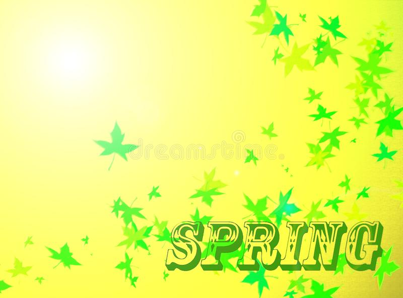 Spring background with green leaves stock illustration
