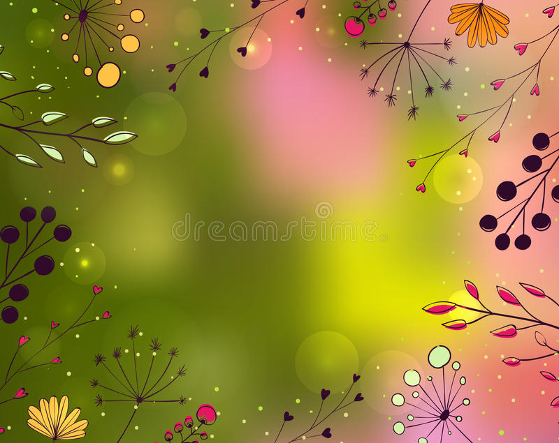 Spring background with hand drawn flowers and branches on blurred green and rose backdrop. Nature vector frame. royalty free illustration
