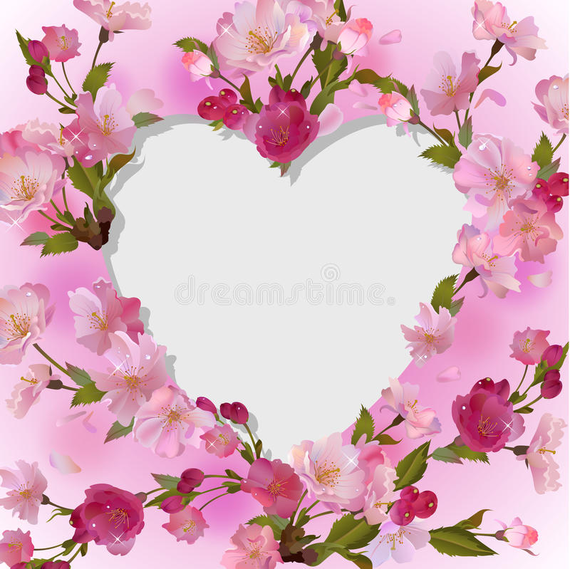 Spring background with heart in flowers vector illustration