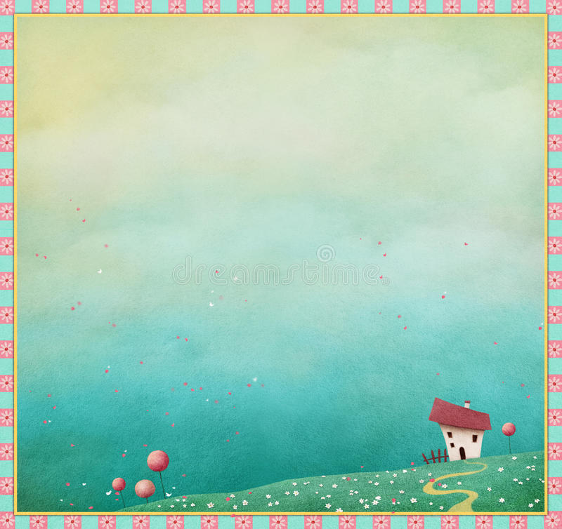 Spring background with house and footpath. royalty free illustration