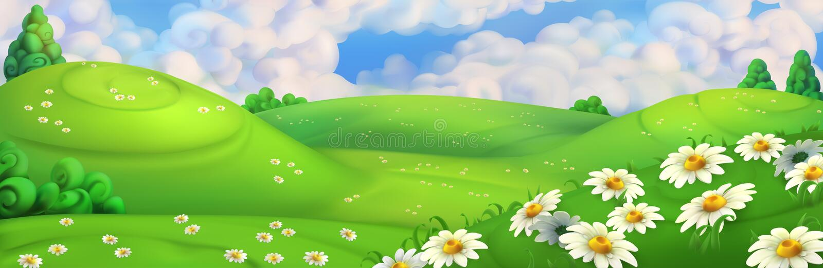 Spring background. Meadow with daisies vector illustration. Spring background. Green meadow with daisies vector illustration vector illustration