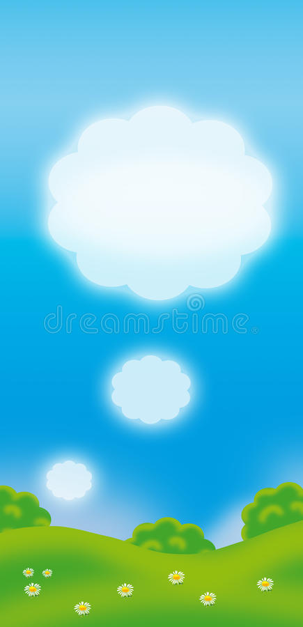 Spring background. For message. Digital illustration. White clouds, green summer background, blue sky and trees and flowers on green grass. Seasonal Holidays of royalty free illustration
