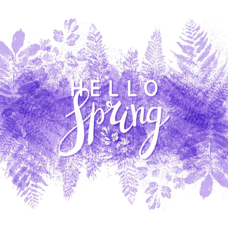 Spring background with purple leaves stock illustration
