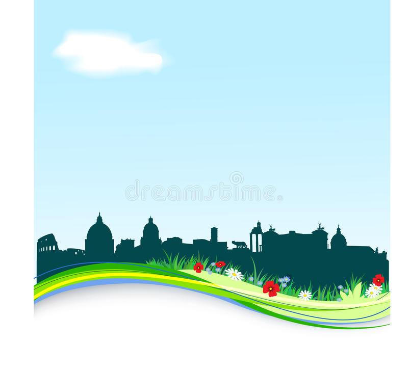 Spring background with Rome skyline
