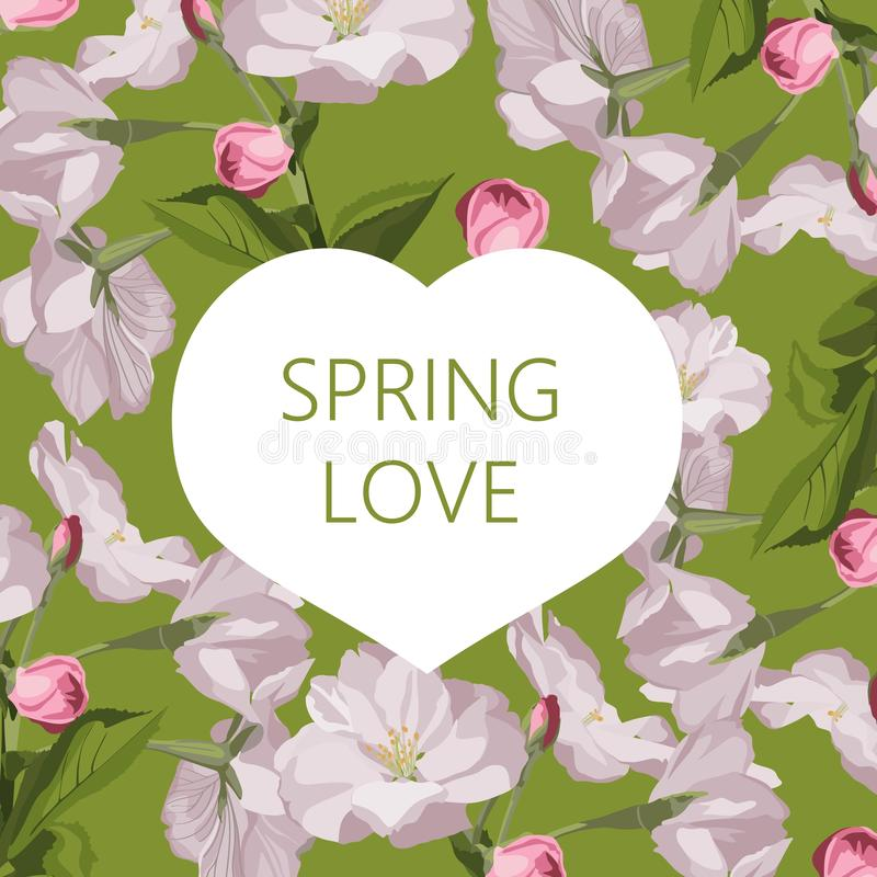 Spring background. Spring time. Spring flowers and leaves. Heart frame. Card template. royalty free illustration
