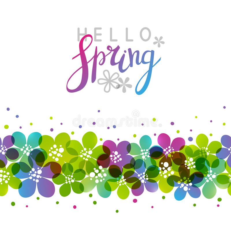 Spring background with vibrant flowers. Border royalty free illustration