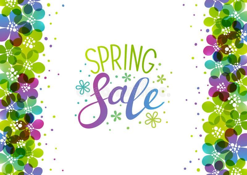 Spring background with vibrant flowers. Border on white vector illustration