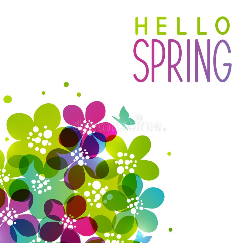 Spring background with vibrant flowers. On white vector illustration