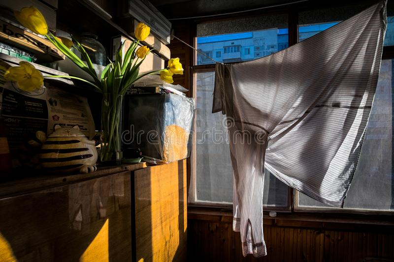 Spring balcony. Drying clothes. royalty free stock image