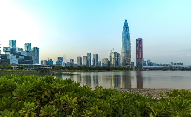 Spring bamboo tower, a landmark building in Shenzhen Bay, Shenzhen, China royalty free stock image